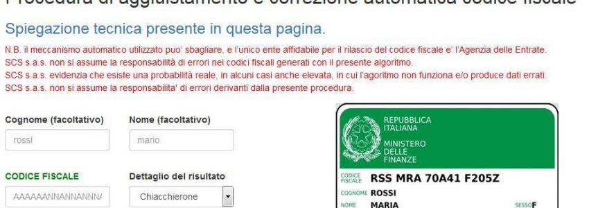 aggiustamento automatico codice fiscale scs 2