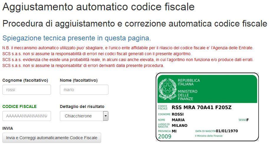 aggiustamento automatico codice fiscale