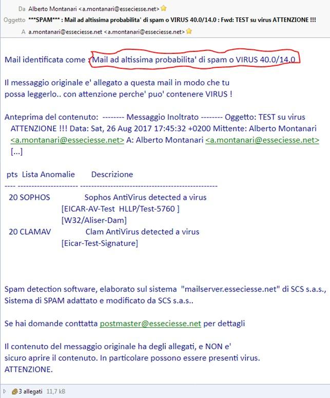 scs sistema mail messaggio spamassassin