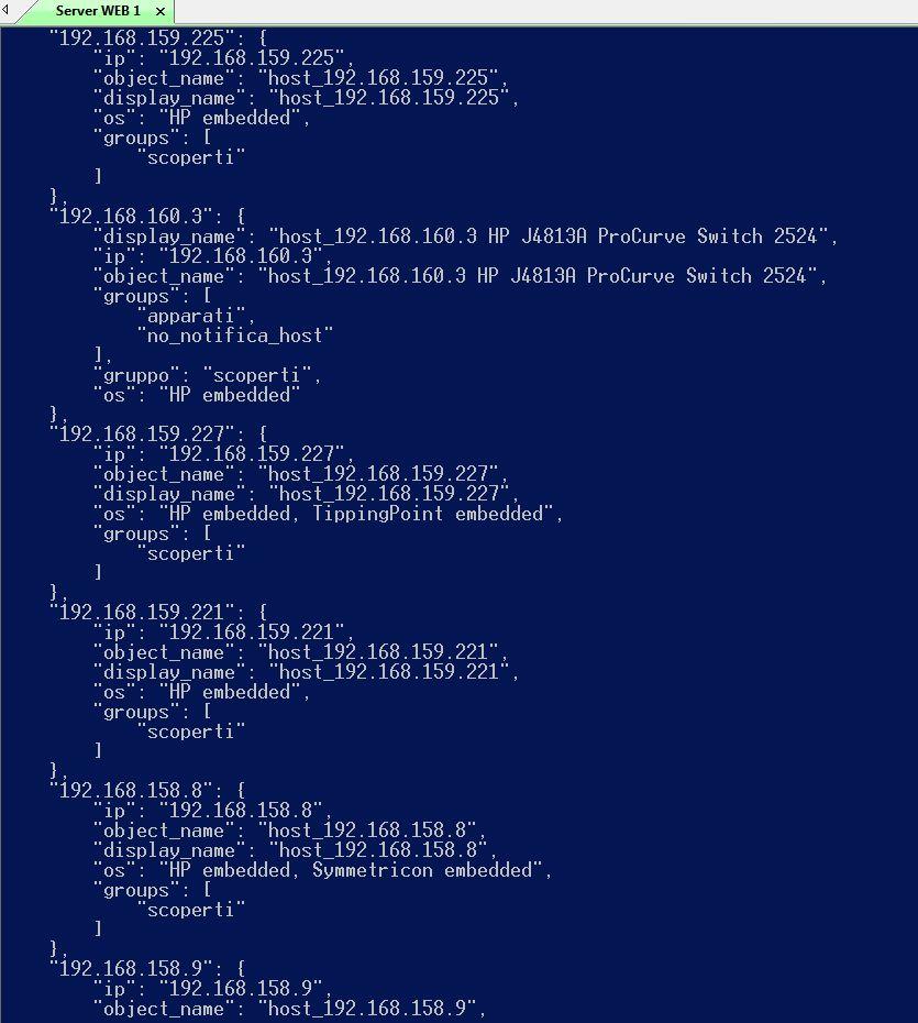 Procedura di autodiscovery di oggetti presenti sulla rete e popolazione sistema di monitoraggio